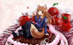 animal_ears apple cake dress food fruit horo long_hair ookami_to_koushinryou orange_hair red_eyes tail wolfgirl Wolf Ears, Spice And Wolf, Wolf Pictures, Dress Cake, Animal Ears, Apple Cake, Red Eyes, Red Hair, Disney Characters