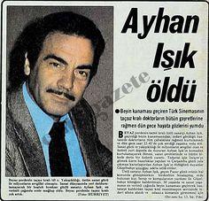 17 Haziran 1979 Hürriyet -> (1979) Beyaz perdenin taçsız kralı idi o. Yakışıklılığı, üstün sanat gücü ile milyonların sevgilisi olmuştu. Sanat dünyasında yeri doldurulamayacak bir boşluk bırakan güçlü sanatçı Ayhan Işık, en verimli çapında ecele mağlup oldu. Beyaz perdenin taçsız kr Newspaper Headlines, Old Newspaper, Leonardo Dicaprio, Turkish Actors, Nostalgia, Sculpture Art, Actors & Actresses, Cinema, Singer