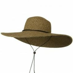 Womens Floppy Wide Brim Packable Sun Hat Two Tone Brown with Chin Strap