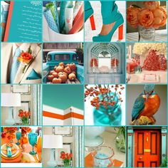I love this style board.    The French Tangerine: ~ tangerine and turquoise