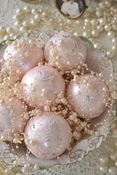Shabby Chic Pink Christmas Ornaments and Pearls! Noel Christmas, All Things Christmas, White Christmas, Christmas Crafts, Christmas Ornaments, Christmas Pageant, Christmas Baking, Xmas, Christmas Cookies