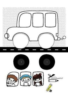 okul öncesi eğlenceli kes yapıştır etkinlikleri araba | Evimin Altın Topu