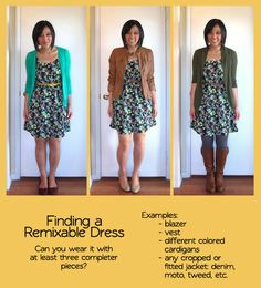 Putting Me Together: building a remixable wardrobe | can you wear a dress with three different completer pieces?
