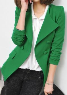 Green Lapel Long Sleeve Shoulder Pads Suit pictures