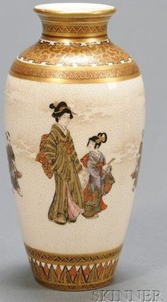 Japanese Satsuma porcelain ovoid vase, decoration of a woman and children, circa 1876-1900