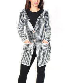 White & Black Contrast-Knit Cardigan - Plus Cute! $32.99     (dryclean)