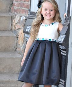 Another great find on #zulily! White & Black Bejeweled Dress - Toddler & Girls #zulilyfinds