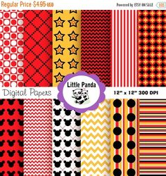 70% OFF SALE Mickey Mouse Digital Scrapbooking Papers - Instant Download - D29