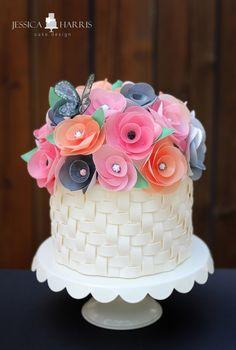 Wafer Paper Flower Tutorial + Basketweave Cake
