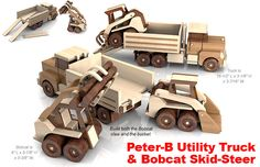 Build the Peter B Utility Truck & Bobcat Skid-Steer Full-Size Wood Toy Plan Sets
