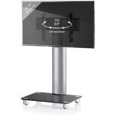 TV voet TV standaard Bilano verrijdbaar zilver zwartglas