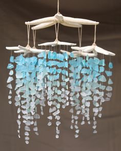 Items similar to Sea Glass & Starfish Mobile - Seafoam / Sea glass mobile, seaglass windchime, sea glass chandelier, sea glass suncatcher, sea glass art on Etsy Sea Glass Crafts, Sea Glass Art, Seashell Crafts, Beach Crafts, Diy And Crafts, Sea Glass Jewelry, Sea Glass Decor, Silver Jewelry, Stained Glass