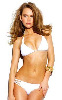 The unique Sauvage Swimwear Spider Braided Bikini Set is great for the classy girl who likes to lounge in the sun, sipping on a glass of lemonade. Sauvage Swimwear, Swimwear 2015, White Bikini Set, Bikini Luxe, Beach Attire, Classy Girl, Brazilian Bikini, Bikini Tops, String Bikinis
