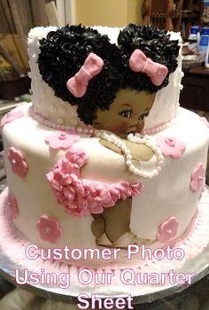 Pink Dark Skin Princess Ballerina Edible Cake Image Baby
