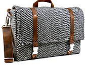 Large camera messenger bag with leather strap  - black and white herringbone wool