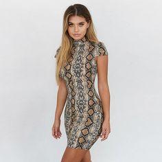 Python Snake Print Body Con Mini Dress