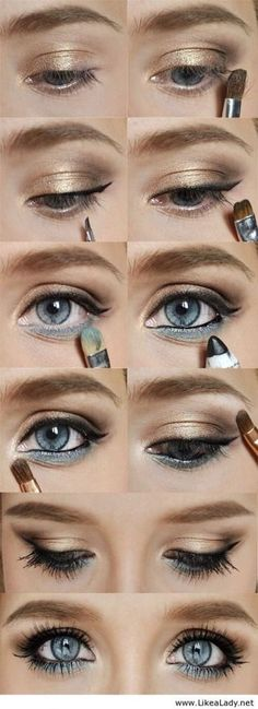 Der ultimative Leitfaden mit 22 Foundation MakeUp-Tipps und 15 Antworten Image via How to Apply Smokey Eyeshadow Step by Step Image via See make-up ideas Step by Step. Make-up in purple and blue tones. Image via Make-up lessons for beginners as bea Blue Eye Makeup, Skin Makeup, Blue Eyeshadow, Bronze Makeup, Makeup Eyeshadow, Gold Makeup, Dramatic Makeup, Makeup Light, Makeup Contouring