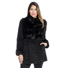 ShopHQ Online Home Shopping - Donna Salyers' Fabulous-Furs Persian Lamb & Fox Faux Fur Stand Collar Coat on sale.  Donna Salyers' Fabulous-Furs Persian Lamb & Fox Faux Fur Stand Collar CoatClassic style with an on-trend twist! This lovely coat is crafted
