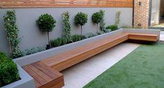 Backyard ideas modern garden designer london artificial grass hardwood seat fireplace hardwood… How Modern Garden Design, Backyard Design, Garden Seating, Small Gardens, Small Backyard, Modern Garden