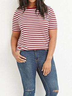 3abc4ec337375a Plus Size Basic Red Stripe Tee