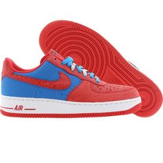 Nike Men Air Force 1 Low - Godzilla Pack (photo blue / hyper red) 488298-412 - $89.99