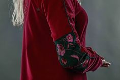 Detail: sleeve of the red #embroidered #dress by #GNatelier. https://www.facebook.com/GN_design-1617224841891321