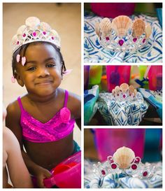 Seashell crowns. dollar store tiaras and glue shells on for Mermaid Birthday party. Under the Sea.