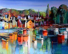 Eric Le Pape, Gouache, Les Oeuvres, Watercolor, Landscape, Retro, Abstract, Artwork, Painting