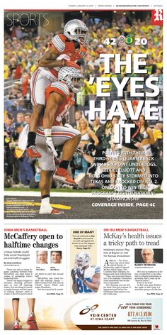 News design: Jan. 13 Des Moines sports cover.