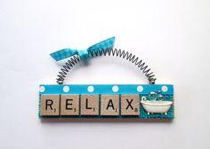 Relax Bath Tub Bubbles Scrabble Tile by ScrabbleTileOrnament