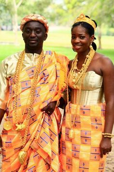 Ghanaian bride and groom in traditional dress....