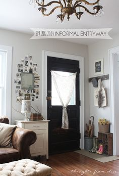 Thoughts from Alice: Spring 2014 Informal Entryway - simple ideas for dealing with a small entryway space