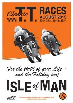 Buy Classic TT 2013 Limited Edition Poster - The Classic TT will be held around the Isle of Man's famous TT Mountain course over the August Bank Holiday. Bike Poster, Motorcycle Posters, Motorcycle Art, Course Moto, Retro Helmet, Moto Cafe, Vintage Posters, Retro Posters, Art Posters
