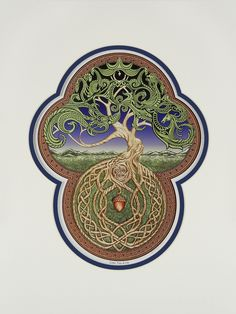 Celtic Tree of Life- Digital Art Print - Tree - Green - Arbor - Big Tree - Great Oak - Acorn - Irish art - yggdrasil. Celtic Tree of Life The Tree contains the 7 Celtic life forms, Plant, Insect, Fish, Reptile, Bird, Beast and Man. The lower half represents the potential and code for life that is passed from generation to generation, while the top half reveals the current manifestation of that life. This description is on the back of each piece. All digital art prints are matted and hand...