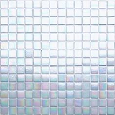 Kaleidoscope ColorGlitz Iridescent Glass Mosaic Tile, sold by the 1.15 s.f. sheet - Walk of Fame White 10.95