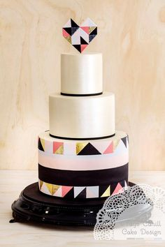 Geometric Wedding Cake with Heart Cake Topper // Faye Cahill Cake Design