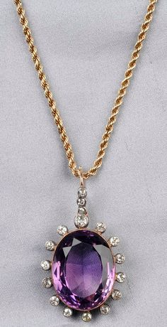 Antique Amethyst and Diamond Pendant, set with a cushion-cut amethyst measuring approx. 23.00 x 18.00 x 10.00 mm, framed by bezel-set old mine-cut diamonds, silver-topped 14kt gold mount, suspended from later 9kt gold ropetwist chain, lg. 17 1/2 in.
