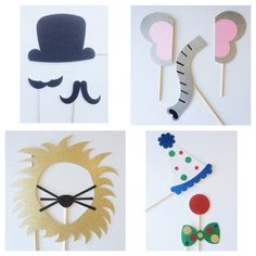 Circus Photo Booth Props ; Circus Birthday Party ; Zoo Animals ; Elephant, Ring Master, Clown, and Lion Photobooth Prop by Lets Get Decorative