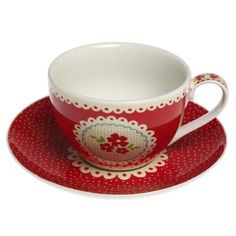 vintage doily tea cup and saucer