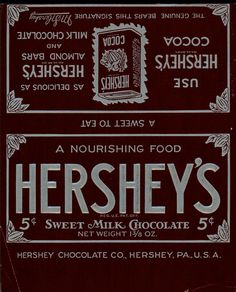 1920s Almond Hersheys Candy Wrapper | package design | Pinterest ...