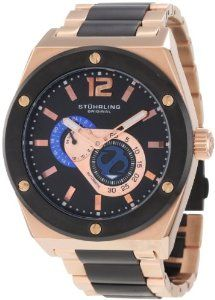Stuhrling Original Men's 281B.332Q241 Leisure Gen-X Esprit D'Vie Automatic Skeleton Black Dial Watch Stuhrling Original. $231.00. 16k rosegold layered tonneau shaped case and black ip matte finish round bezel with raised high polish s-screws. Three piece dial consisting of black main base dial with applied dial plates for seconds and 24 hour subdial. Water-resistant to 100 M (330 feet). Protective krysterna crystal on front with screw down semi exhibition case ba...
