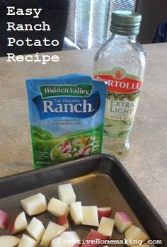 These ranch potatoes make a great easy side dish and only require three ingredients to make. #recipes #potatoes