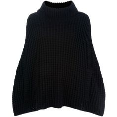 DOLCE & GABBANA Chunky knit cape sweater ($705) ❤ liked on Polyvore featuring tops, sweaters, crop tops, black, chunky knit sweater, cropped sweater, turtleneck crop top, turtle neck crop top and loose fitting tops