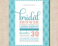 Printable Bridal Shower Invitation - Aqua and pink check design