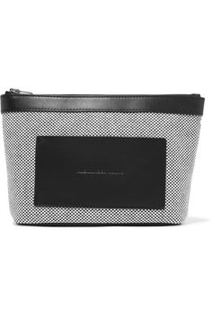 Alexander Wang - Leather-trimmed Woven Canvas Pouch - Gray - one size