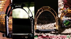 """Which Jin Stirrup would you like under your Christmas Tree, The Precious, (Black with Swarovski Crystals on the Left) or the Carat      (Gold plated 24k with Swarovski Crystals on the Right) ??? A great gift for that special """"horse girl"""", in your life... Available in store now at www.ridersxoxo.com"""