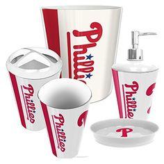 philadelphia phillies mlb complete bathroom accessories 5pc set httpwwwsportstation - Boston Red Sox Bath Accessories