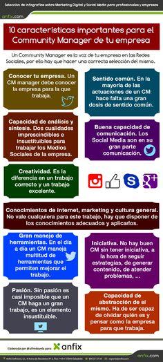 10 características importantes para el Community Manager de tu empresa. Infografía en español. #CommunityManager