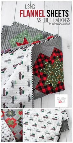 Save money quilting: Use flannel sheets as quilt backings to save time and money quilting. Flannel sheets are soft and warm and inexpensive and make the coziest quilts. How to use sheets as quilt backings. Quilting For Beginners, Quilting Tips, Quilting Tutorials, Machine Quilting, Quilting Projects, Quilting Designs, Sewing Projects, Embroidery Designs, Diy Quilting Design Board