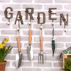 Vintage Style Garden Hooks by The Letteroom, the perfect gift for Explore more unique gifts in our curated marketplace. Peg Hooks, Rusty Garden, Vintage Fashion, Vintage Style, Ceramic Knobs, Metal Letters, Garden Gifts, Spring Garden, Metallic Paint